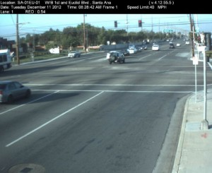 Red Light Camera at Intersection of First St and Euclid Ave in Santa Ana, CA - west bound camera picture