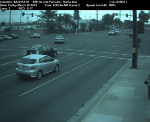 Red Light Camera at Intersection of Fairview St and First St in Santa Ana, CA - east bound camera picture
