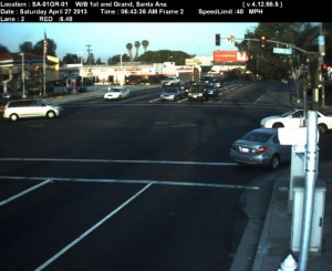 Red Light Camera at Intersection of First St and Grand Ave in Santa Ana, CA - west bound camera picture