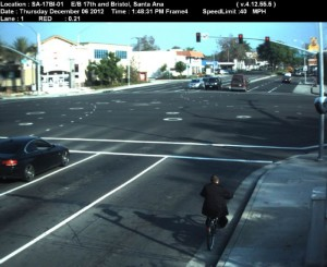 Red Light Camera at Intersection of 17th St and Bristol St in Santa Ana, CA - east bound camera picture