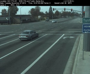 Red Light Camera at Intersection of 17th St and Tustin Ave in Santa Ana, CA - west bound camera picture