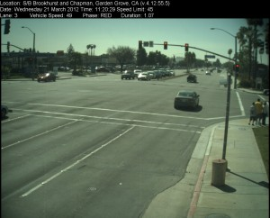 Red Light Camera at Intersection of Brookhurst St and Chapman Ave in Garden Grove, CA - south bound camera picture