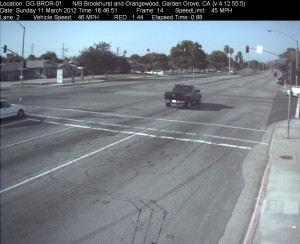 Red Light Camera at Intersection of Brookhurst St and Orangewood Ave in Garden Grove, CA - north bound camera picture