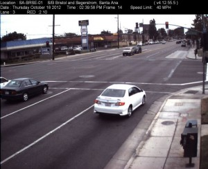 Red Light Camera at Intersection of Bristol St and Segerstrom Ave in Santa Ana, CA - south bound camera picture