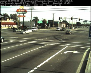 Red Light Camera at Intersection of Brookhurst St and Westminster Ave in Garden Grove, CA - south bound camera picture