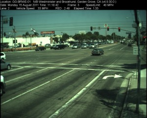Red Light Camera at Intersection of Brookhurst St and Westminster Ave in Garden Grove, CA - north bound camera picture