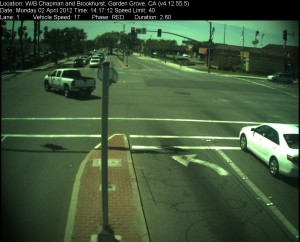 Red Light Camera at Intersection of Brookhurst St and Chapman Ave in Garden Grove, CA - west bound camera picture