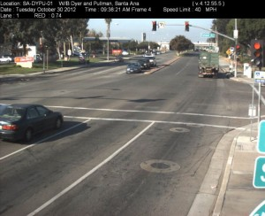 Red Light Camera at Intersection of Dyer Rd and Pullman St in Santa Ana, CA - west bound camera picture