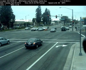 Red Light Camera at Intersection of Harbor Blvd and McFadden Ave in Santa Ana, CA - north bound camera picture