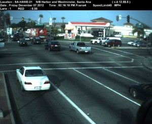 Red Light Camera at Intersection of Harbor Blvd and Westminster St in Santa Ana, CA north bound camera picture