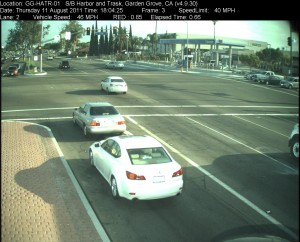 Red Light Camera at Intersection of Harbor Blvd and Trask Ave in Garden Grove, CA - south bound camera picture