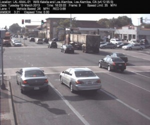 Red Light Camera at Intersection of Katella Ave and Los Alamitos Blvd in Los Alamitos, CA