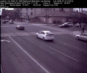 Red Light Camera at Intersection of Katella Ave and Bloomfield St in Los Alamitos, CA