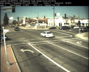 Red Light Camera at Intersection of Trask Ave and Magnolia St in Garden Grove, CA - north bound camera picture