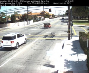 Red Light Camera at Intersection of Newhope St and Hazard Ave in Santa Ana, CA - south bound camera picture