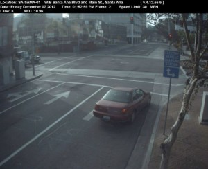 Red Light Camera at Intersection of Santa Ana Blvd and Main St in Santa Ana, CA - west bound camera picture