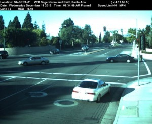 Red Light Camera at Intersection of Segerstrom Ave and Raitt St in Santa Ana, CA - west bound camera picture