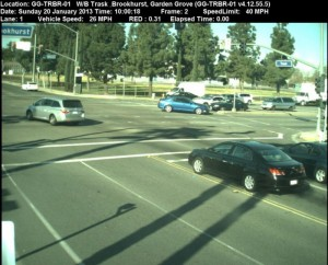 Red Light Camera at Intersection of Brookhurst St and Trask Ave in Garden Grove, CA - west bound camera picture
