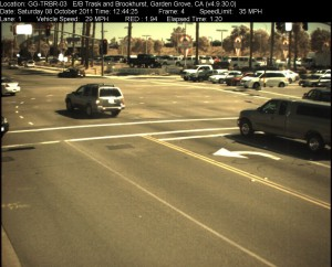Red Light Camera at Intersection of Brookhurst St and Trask Ave in Garden Grove, CA - east bound camera picture
