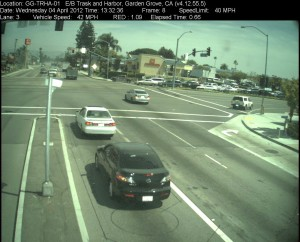 Red Light Camera at Intersection of Harbor Blvd and Trask Ave in Garden Grove, CA - east bound camera picture