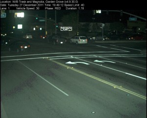 Red Light Camera at Intersection of Trask Ave and Magnolia St in Garden Grove, CA - west bound camera picture