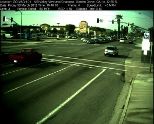 Red Light Camera at Intersection of Valley View St and Chapman Ave in Garden Grove, CA - north bound camera picture