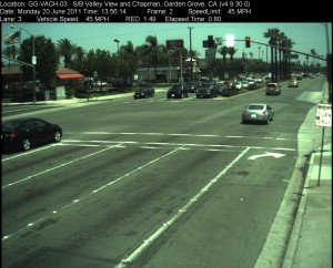 Red Light Camera at Intersection of Valley View St and Chapman Ave in Garden Grove, CA - south bound camera picture