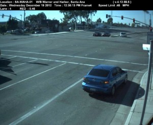 Red Light Camera at Intersection of Harbor Blvd and Warner St in Santa Ana, CA - west bound camera picture