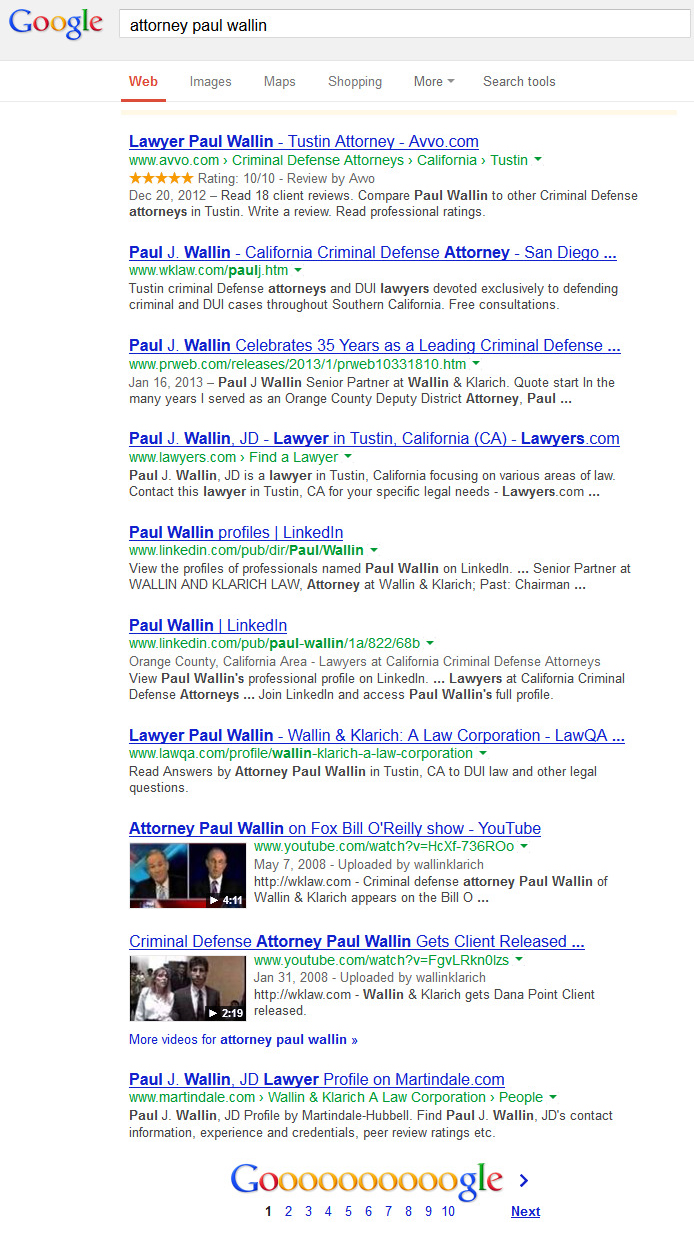 Check Out Paul Wallin Google Name Search. Paul is a professional at leveraging the web to market his law firm.