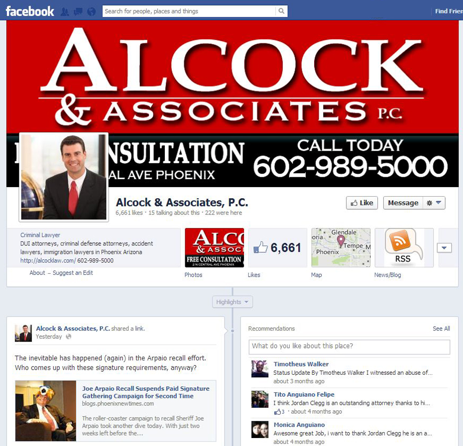 Alcock and Associates P.C. Legal Facebook Page