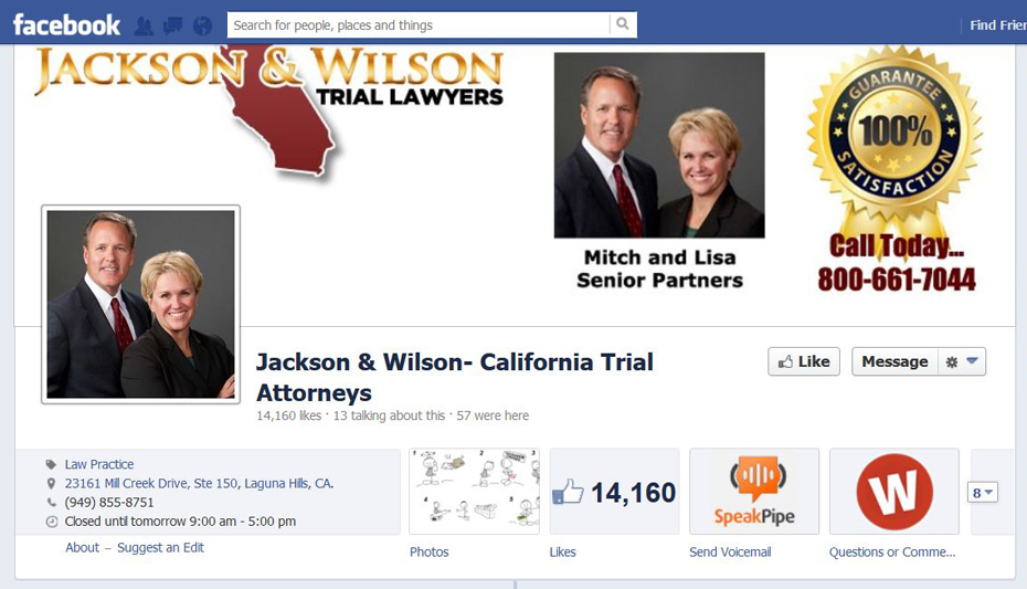 Jackson and Wilson have successfully leveraged Social Media to grow their California, CA Law Practice!
