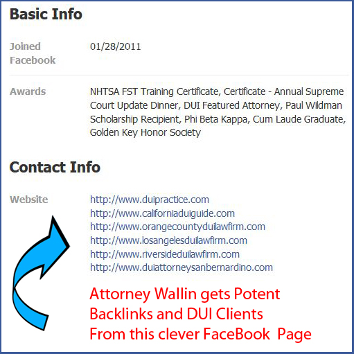 Mr. Wallin has fully-leveraged Social Media to support his SIX Southern California DUI Marketing websites.
