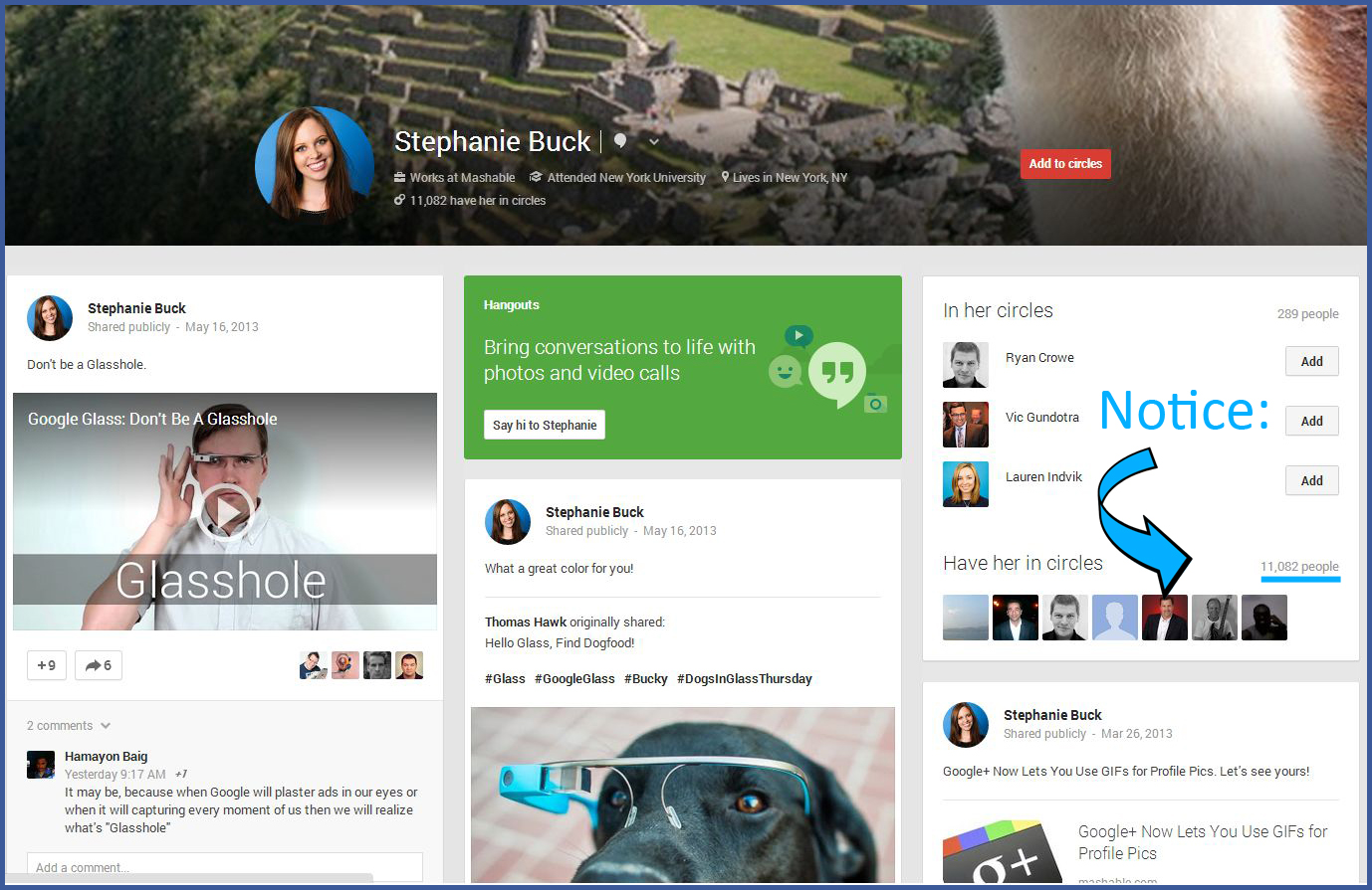 Google + is leveraged very well by Mashable's Stephanie Buck