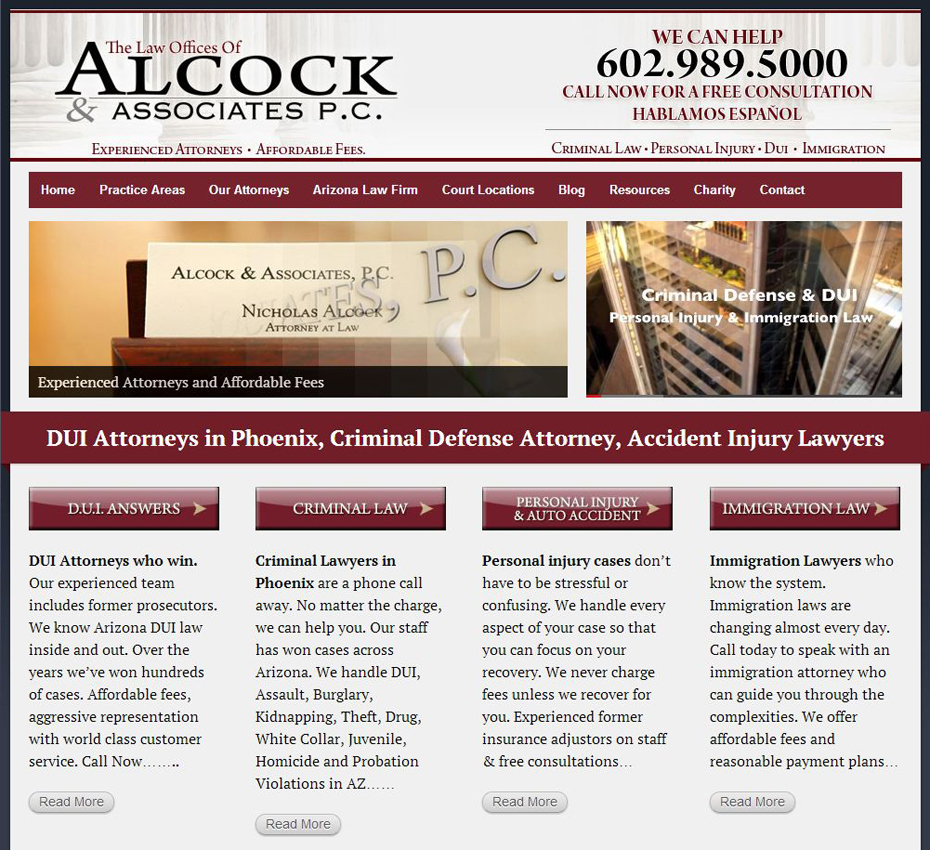 Alcock and Associates P.C. website